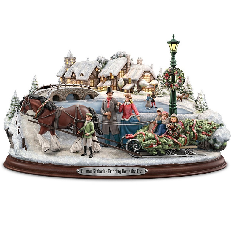 24 Musical Lighted Caroler Family Christmas Table Top: Thomas Kinkade Bringing Home The Tree Sculpture At Ocean