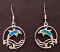 Sterling Silver Blue Dolphin Circle Earrings