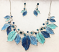 Blue Leaves Necklace and Earrings Set