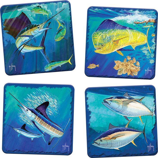 Guy Harvey Portraits Of The Deep Coaster Set At Ocean Treasures - Cork coaster bottoms