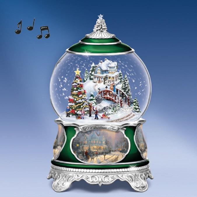 Snowing And Musical Christmas Tree: Thomas Kinkade O Christmas Tree Snow Globe At Ocean Treasures