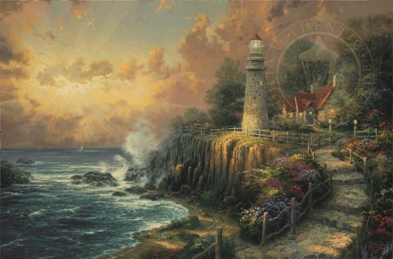 Burl Frame Thomas Kinkade Light of Peace 9 x 12 Canvas Classic