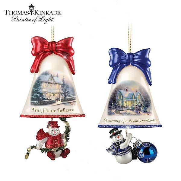 Thomas Kinkade Ringing In The Holidays Ornament Set 3 At Ocean Treasures