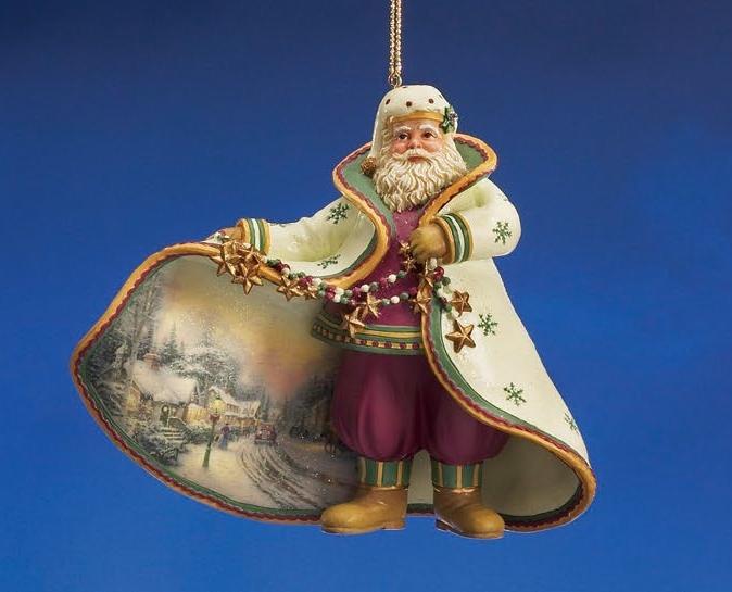 Village Christmas Santa Ornament / Thomas Kinkade
