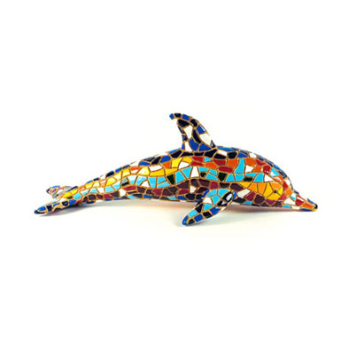 "Mosaic Dolphin Multi Color Figurine 4.3"" Long"
