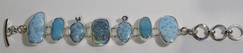 Blue Gemstones Sterling Silver Bracelet