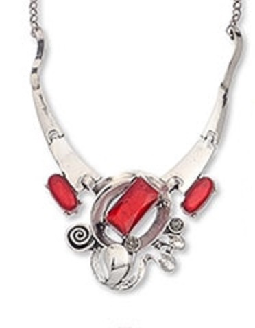 Metal and Red Stone Necklace