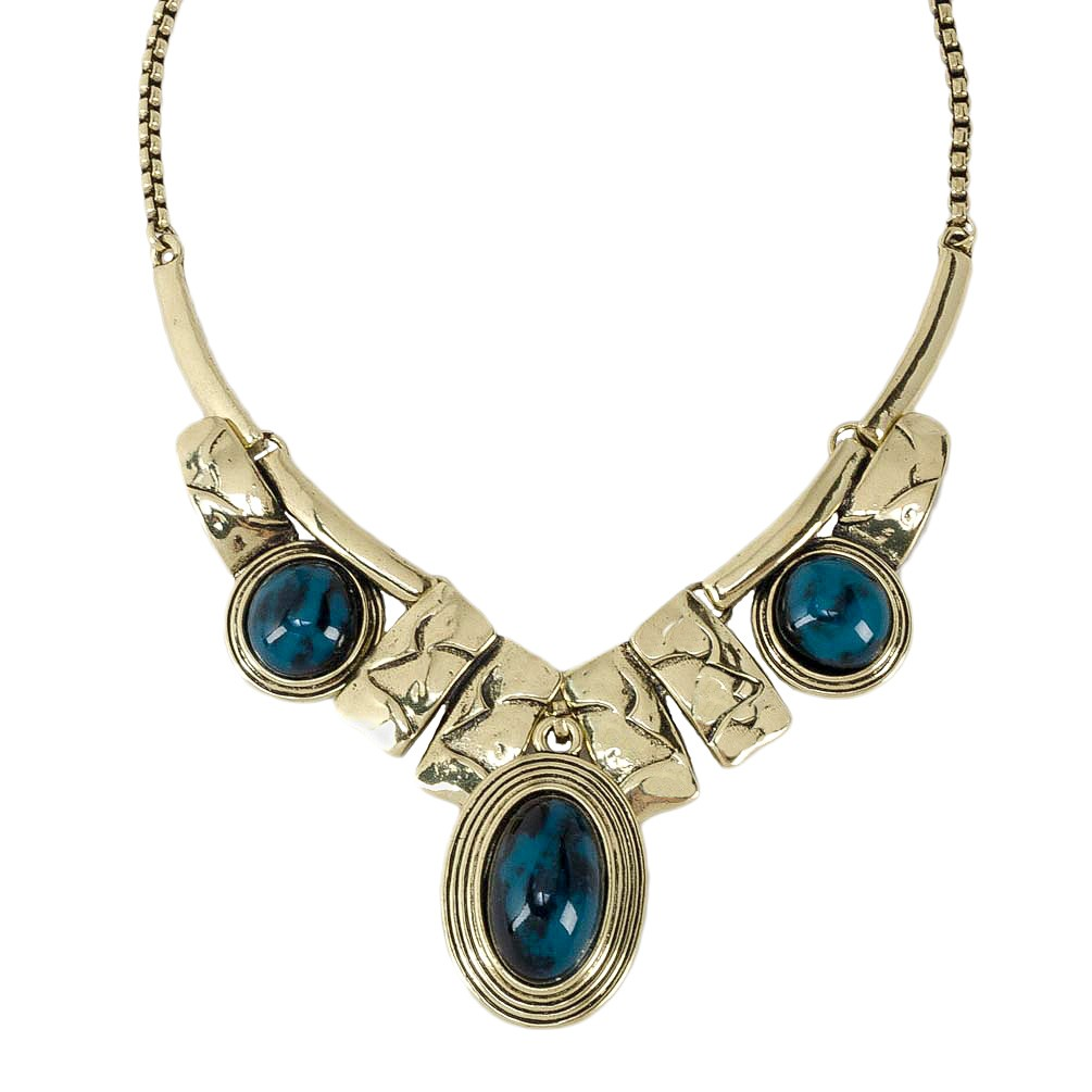 Metal and Blue Stone Collar Necklace