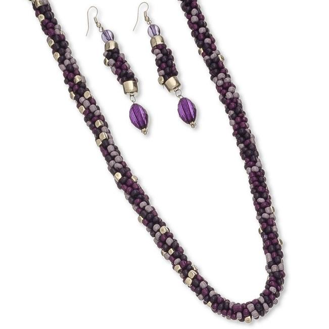 Purple Bead Necklace & Earring Set