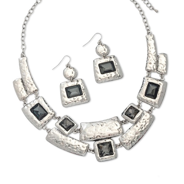 Arianna Black Textured Necklace & Earring Set