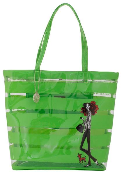 Dog Walking Girl Green Bag