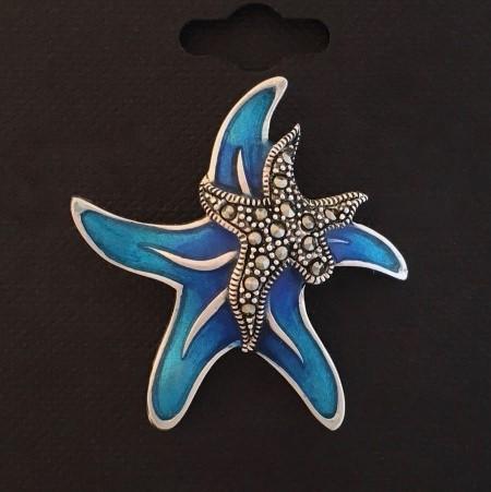 Double Starfish Blue Pendant Charm