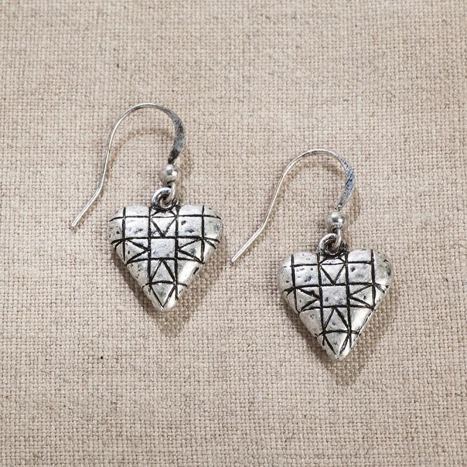 Quilt Patterned Heart Earrings