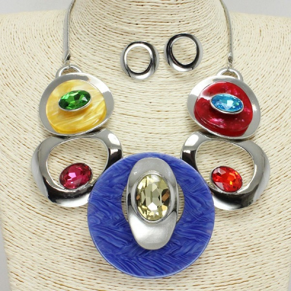 Multi Colored Circles Necklace & Earring Set