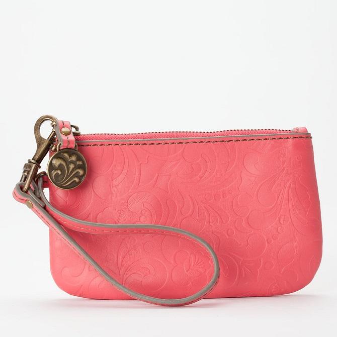 Jasmine Coral Leather Wristlet
