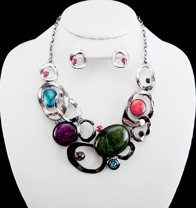 Multicolor Cirlce Links Collar Necklace Set