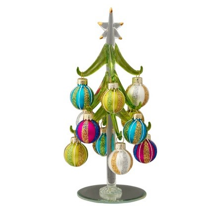 "Striped Glass Ornaments Glass Tree - 8"" H"