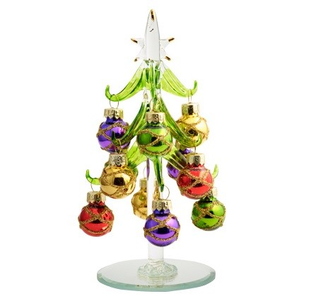 """Gold Garland Accent Ornaments Glass Tree - 6"""" H"""