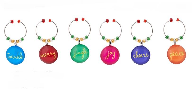 Christmas Cheer Glass Wine Charms