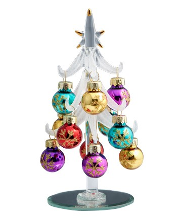 Snowflake Accent Glass Ornaments Tree