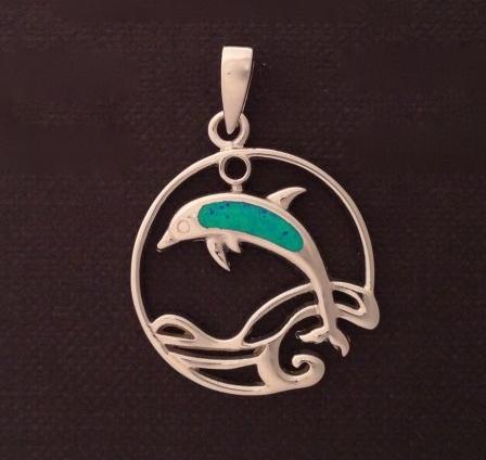 Blue Dolphin Circle Pendant Charm