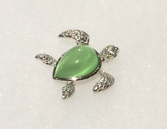 Green Cateye Sea Turtle Pendant Charm