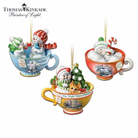 Baby Snowmen Teacup Ornament Set 1