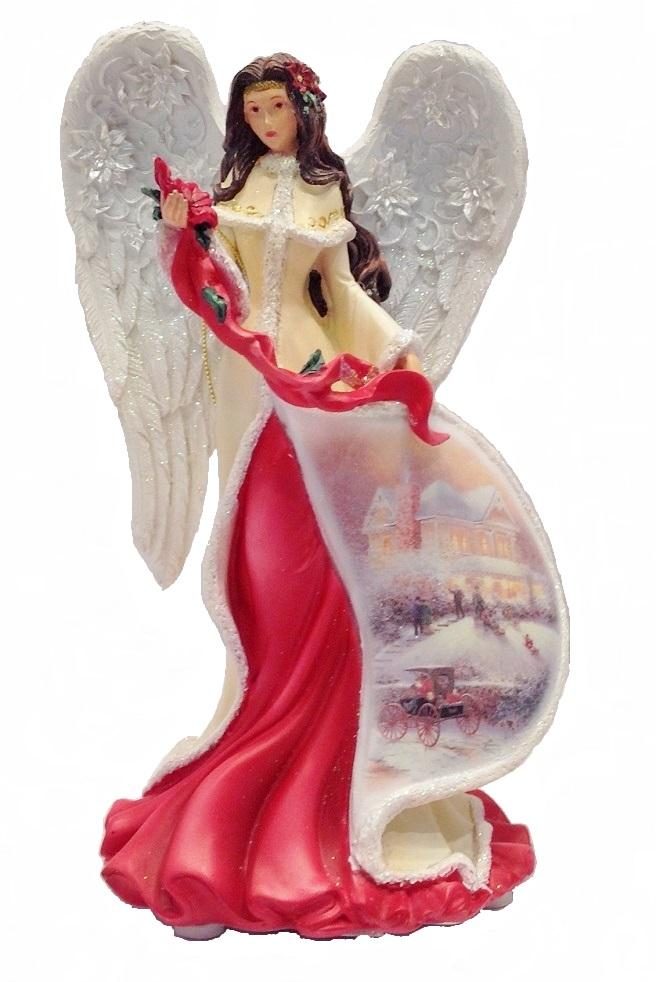 Illuminated Poinsettia Angel
