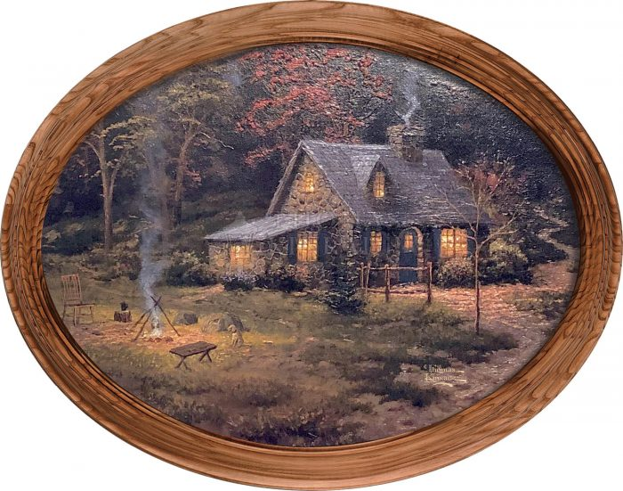 Evening Majesty Cabin & Fire Framed Oval Art