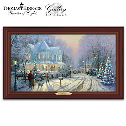 A Holiday Gathering Framed Lighted Canvas