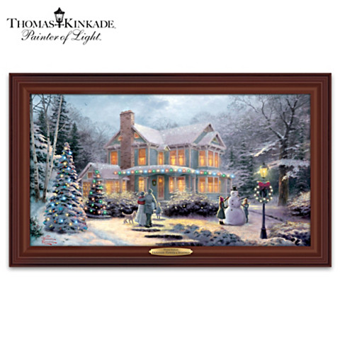 Victorian Family Christmas Framed Lighted Canvas
