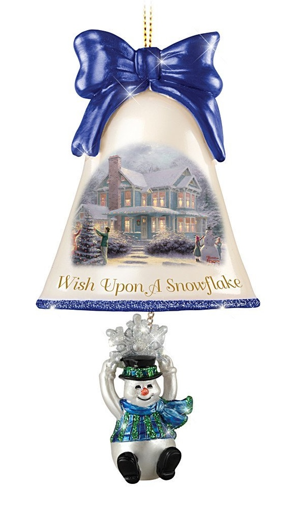 Wish Upon a Snowflake Snowman Bell Ornament