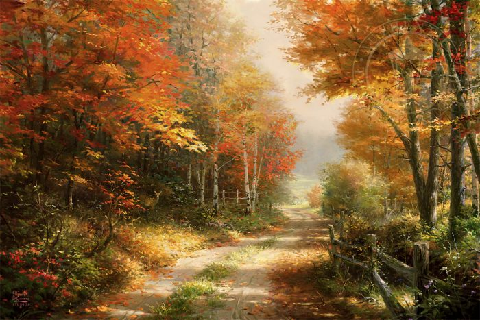 A Walk Down Autumn Lane Painting