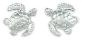 Sterling Silver Sea Turtle Stud Earrings