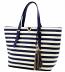 Navy & White Striped Tassel Bag