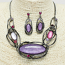 Hermatite Purple Ovals Necklace and Earrings Set