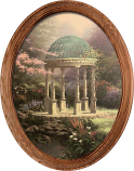 Pools of Serenity Gazebo Framed Oval Art