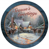 A Christmas Welcome Round Wood Sign