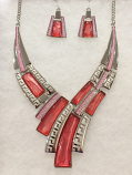 Pink and Fuchsia Weave Necklace Set