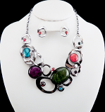 Multicolor Cirlce Links Collar Necklace Set