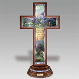 Peace Illuminated Stained Glass Cross