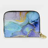 Blue Marble Zippered RFID Wallet