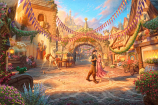 Rapunzel Dancing in the Sunlit Courtyard Painting