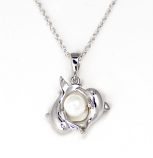 Dolphin Pair with Pearl Sterling Silver