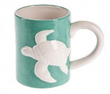 Raised Relief White Sea Turtle Mug