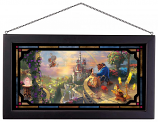 Beauty and the Beast Falling in Love Framed Glass Art