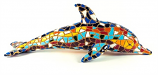"Mosaic Dolphin Multi Color Figurine 8.5"" Long"