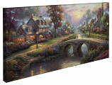 Sunset on Lamplight Lane Panoramic Canvas Wrap