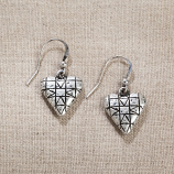 Quilt Patterned Heart Earrings