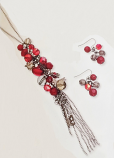 Red Chianti Cluster Long Necklace & Earring Set